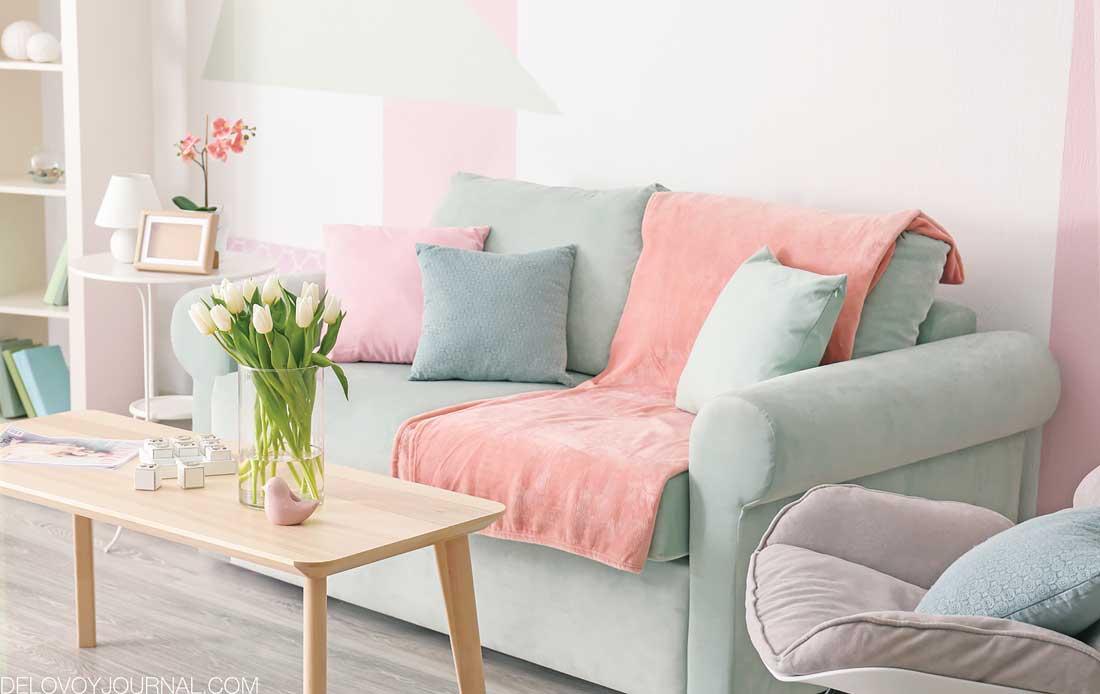 Розово-зеленый интерьер