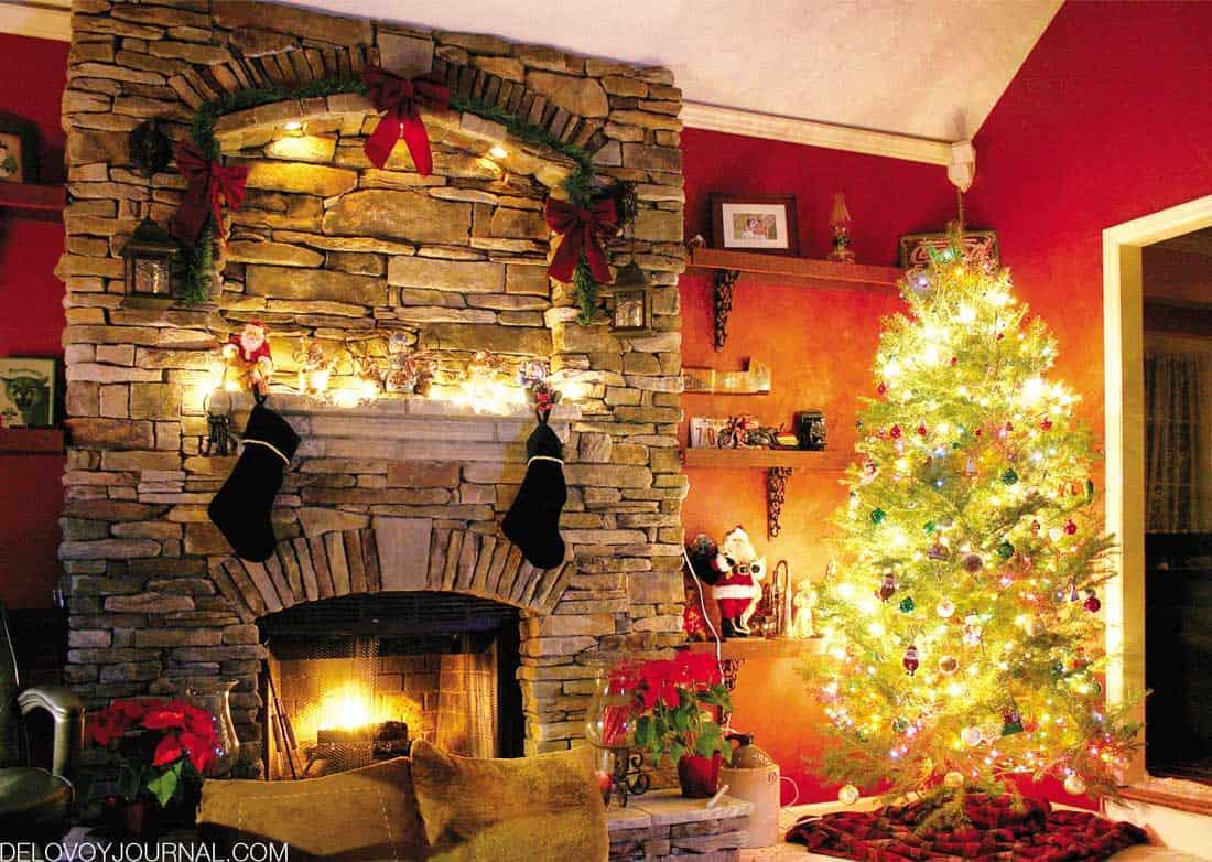 Камин на Рождество