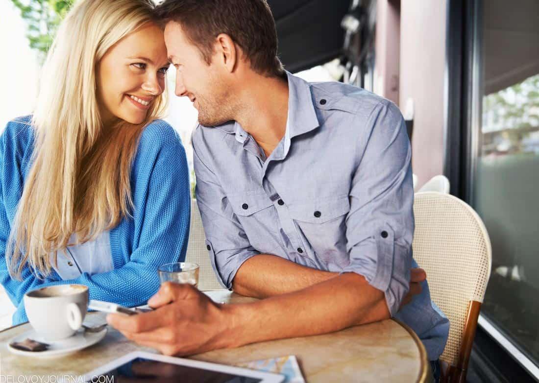 Молодая пара в кафе